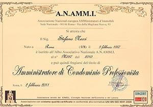Attestato A.N.AMM.I Amministratore di condominio profesionista